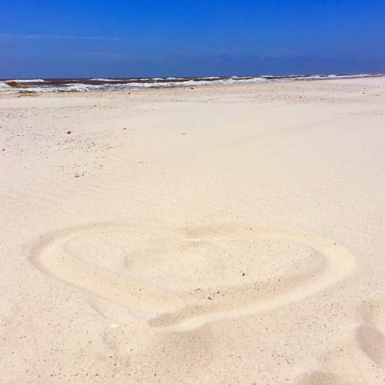 Heart in sand beach alabama