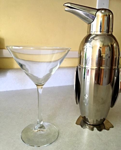Penguin Shaker Martini Glass Cocktail